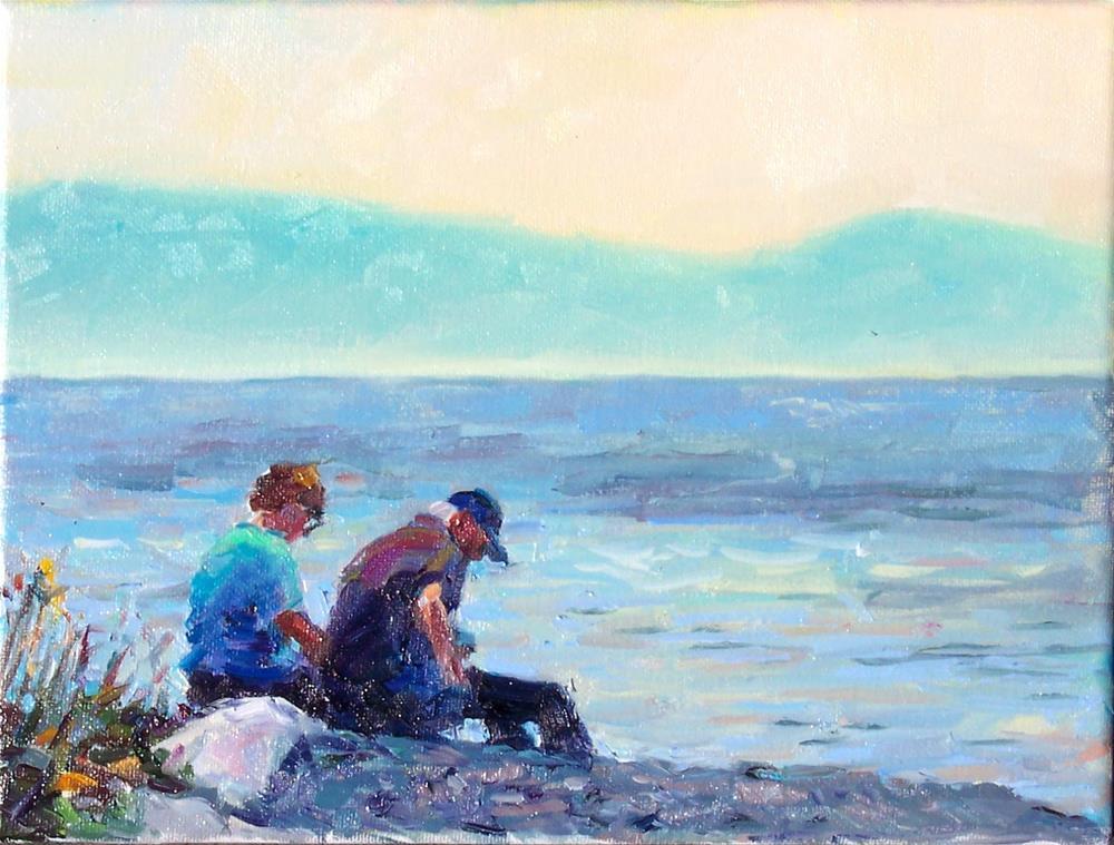"""Couple on Beach,figures,oil on canvas,9x12,price$700"" original fine art by Joy Olney"