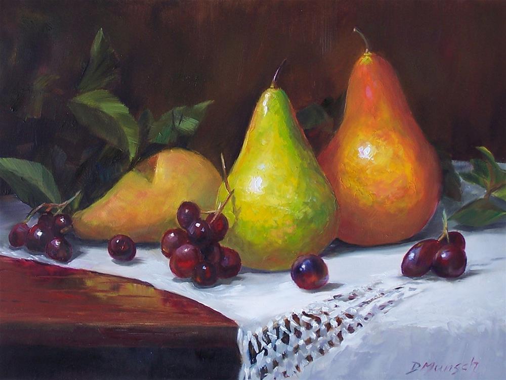 """Three Pears"" original fine art by Donna Munsch"
