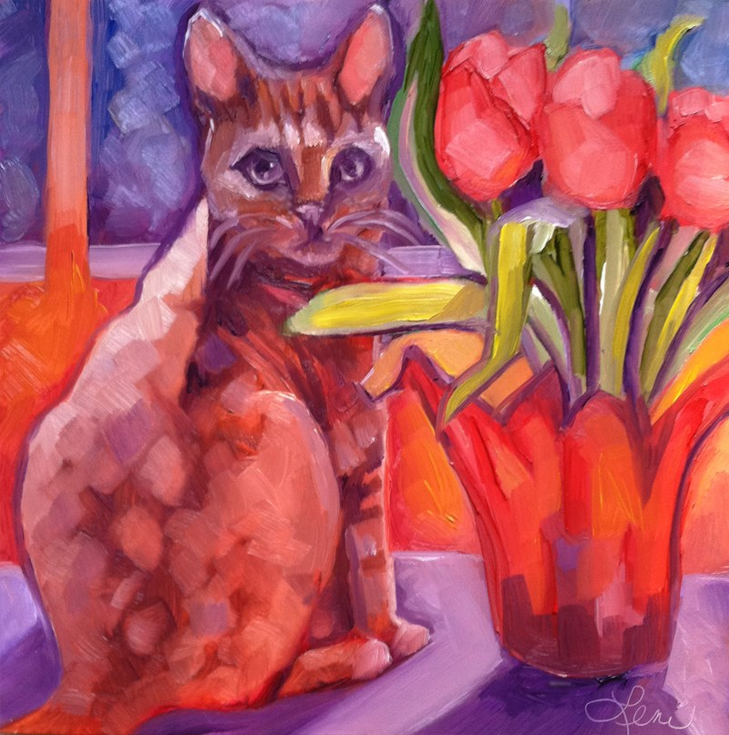 """Bengal Kitty and Tulips"" original fine art by Leni Tarleton"