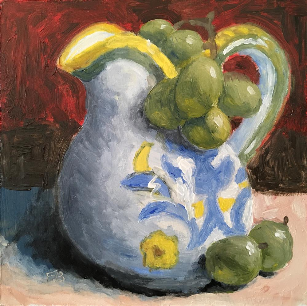 """""""233 Grapes and pitcher"""" original fine art by Fred Bell"""