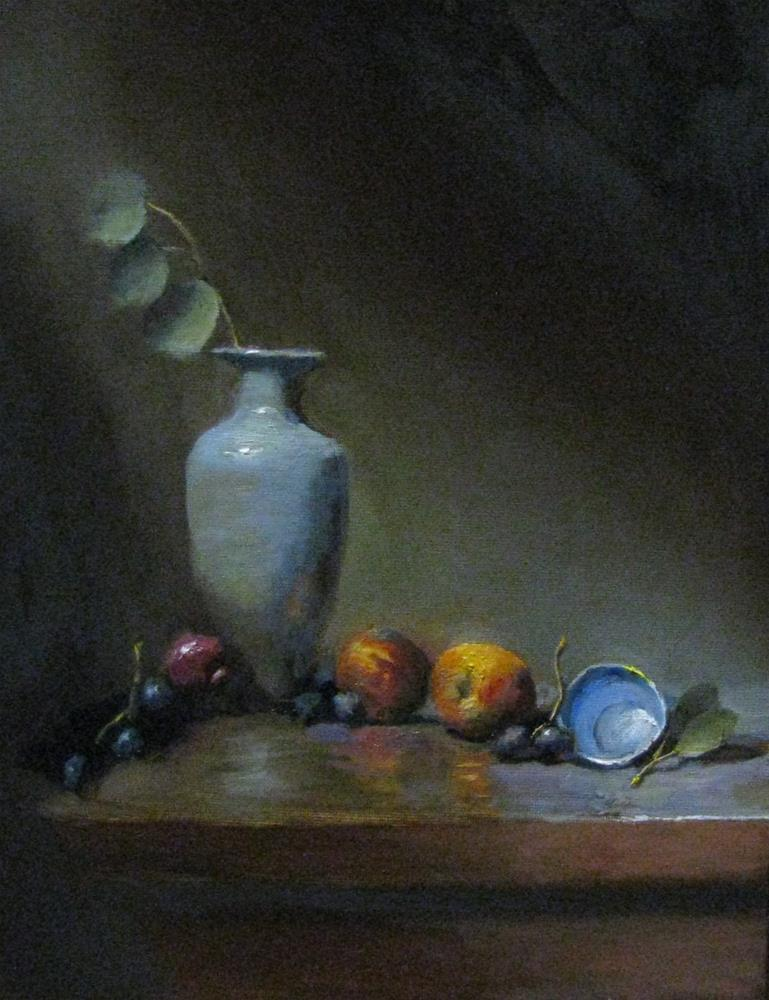 """Peach and tea cup"" original fine art by tom dawson"