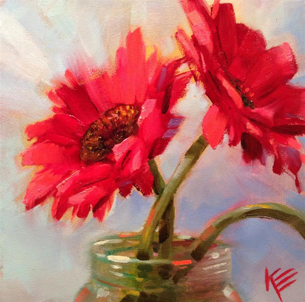 """Daisies in Jar"" original fine art by Krista Eaton"
