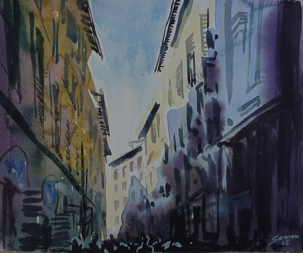"""Rome. Ancient Street"" original fine art by Elena Senina"