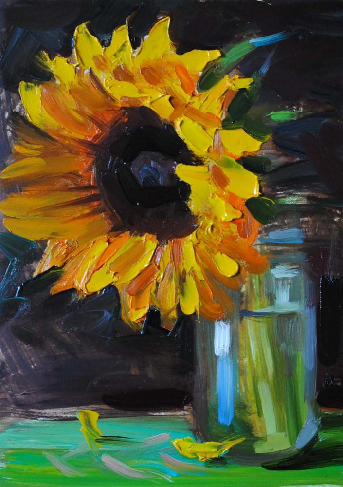 """Sunflower in a Jar II"" original fine art by Elena Katsyura"