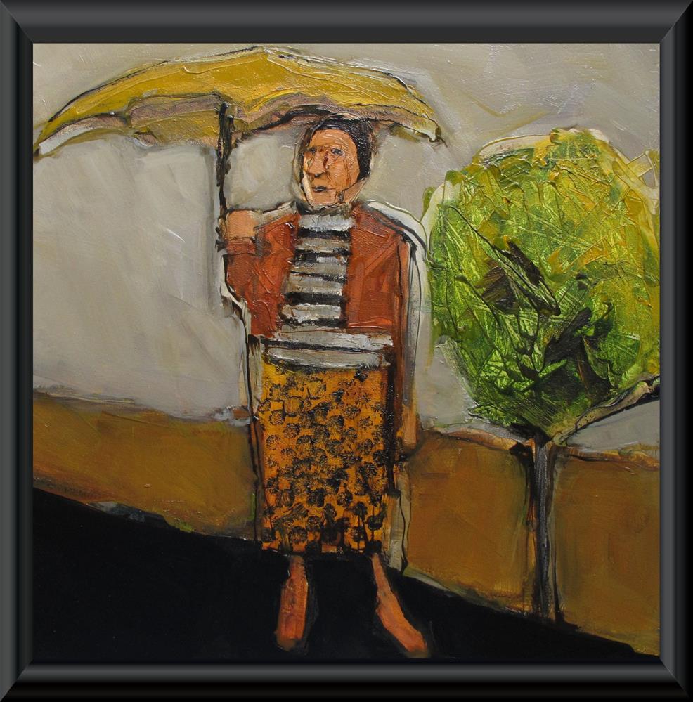 """GOLDEN RAIN TREE Original ABSTRACT FIGURE PORTRAIT Art 8X8 Painting OIL"" original fine art by Colette Davis"