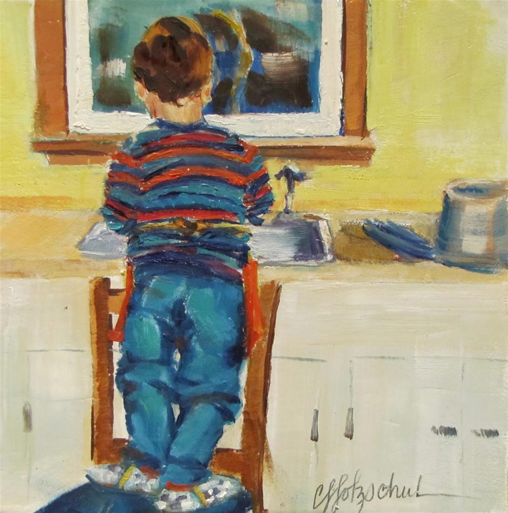 """The Dishwasher"" original fine art by Christine Holzschuh"
