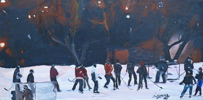 """Hockey Night in Canada"" original fine art by Darlene Young"