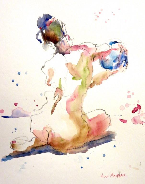 """reaching sphere"" original fine art by Nora MacPhail"