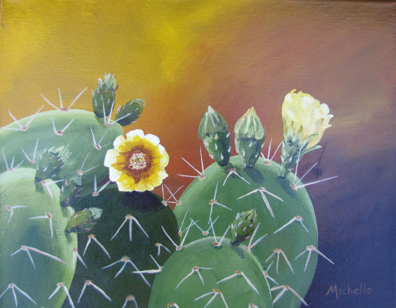 """Prickly Pear Cactus with Blossoms 1"" original fine art by Michelle Wolfe"