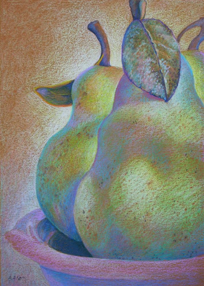 """Almost Ripe Pears Colored Pencil Drawing"" original fine art by Alida Akers"
