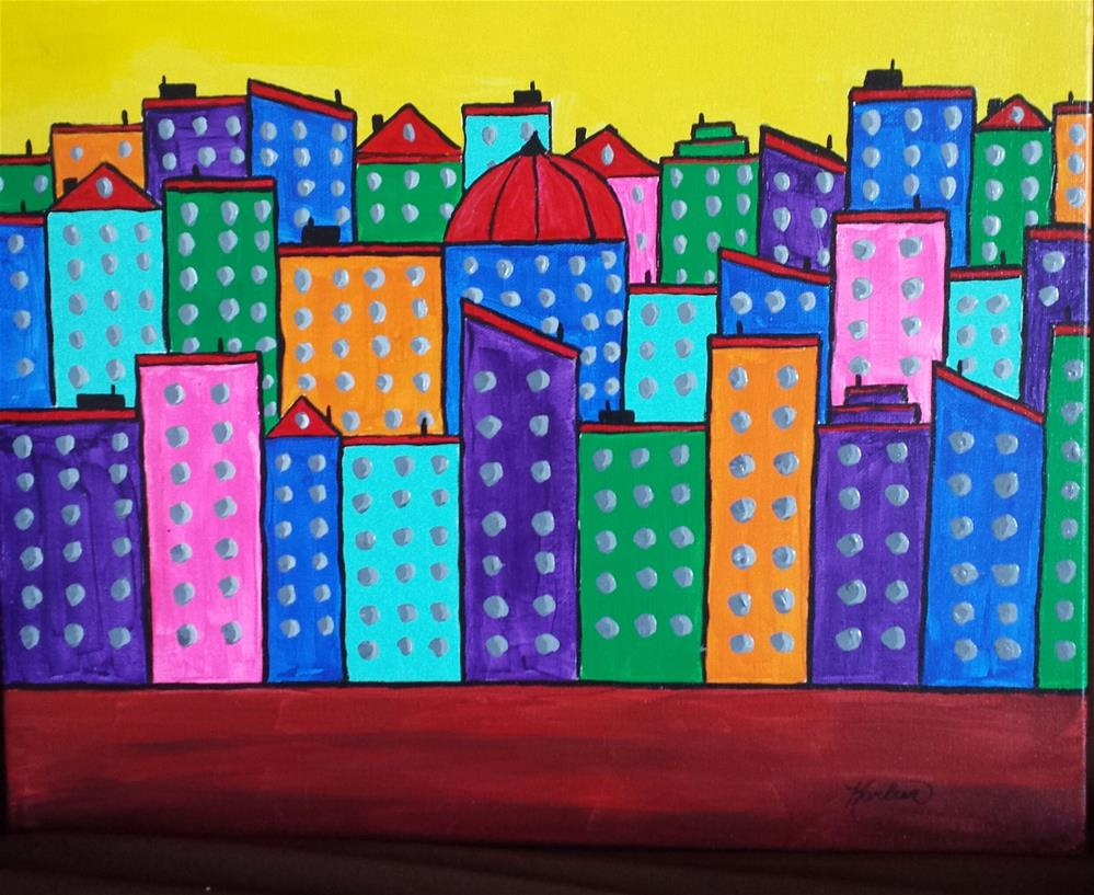 """Contemporary Painting, Your Town"" original fine art by Karleen Kareem"