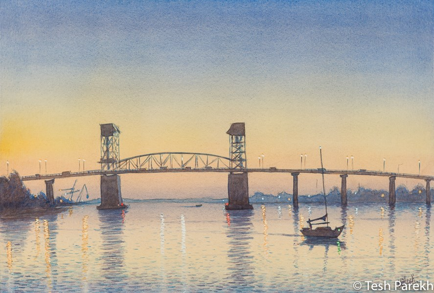"""Cape Fear Memorial Bridge"" original fine art by Tesh Parekh"