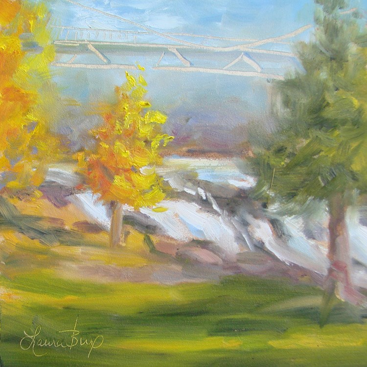 """Fall in Falls Park - 402"" original fine art by Laura  Buxo"