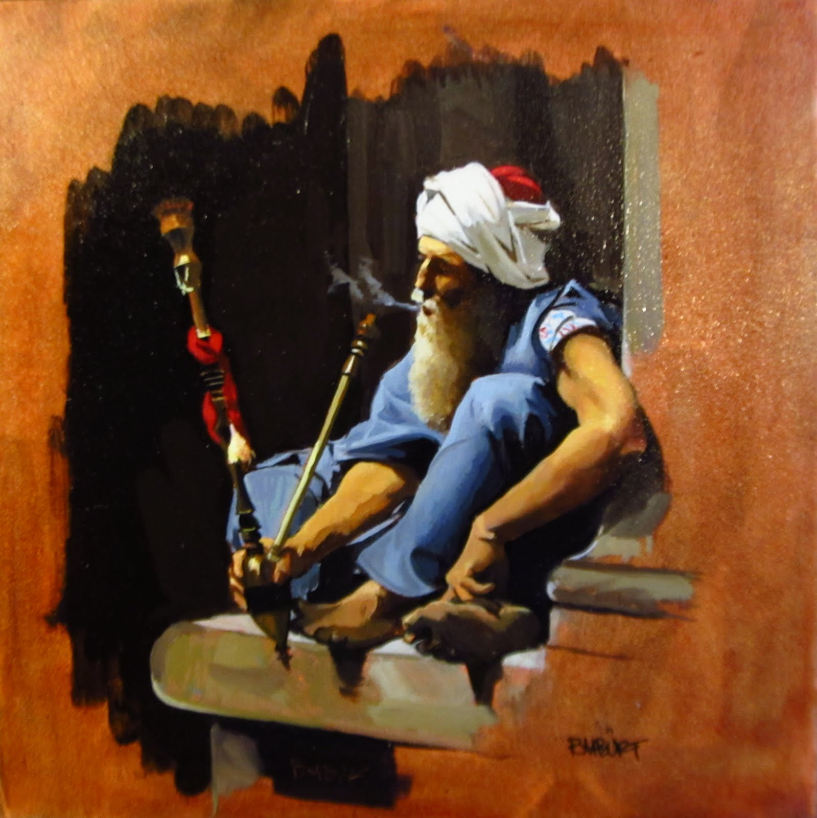 """DAILY DIAPER #228 The Pipe Smoker"" original fine art by Brian Burt"