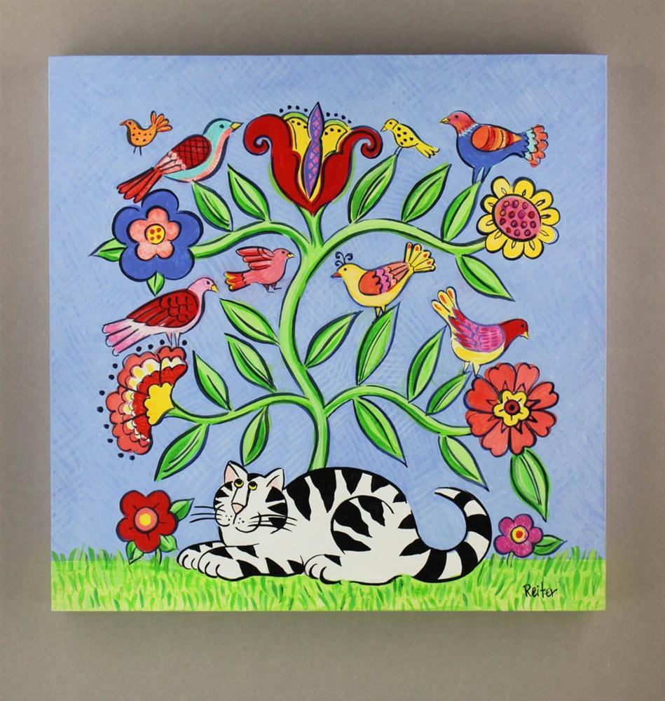"""The Garden—10 x 10   Acyrlic on Wood"" original fine art by Candace Reiter"