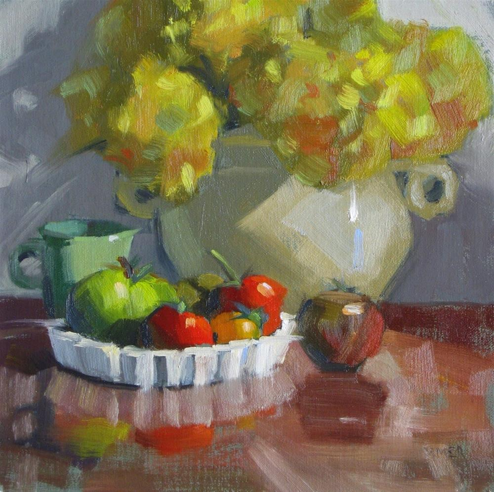 """Tomato tarts in a dish... or... 8 x 8 oil"" original fine art by Claudia Hammer"