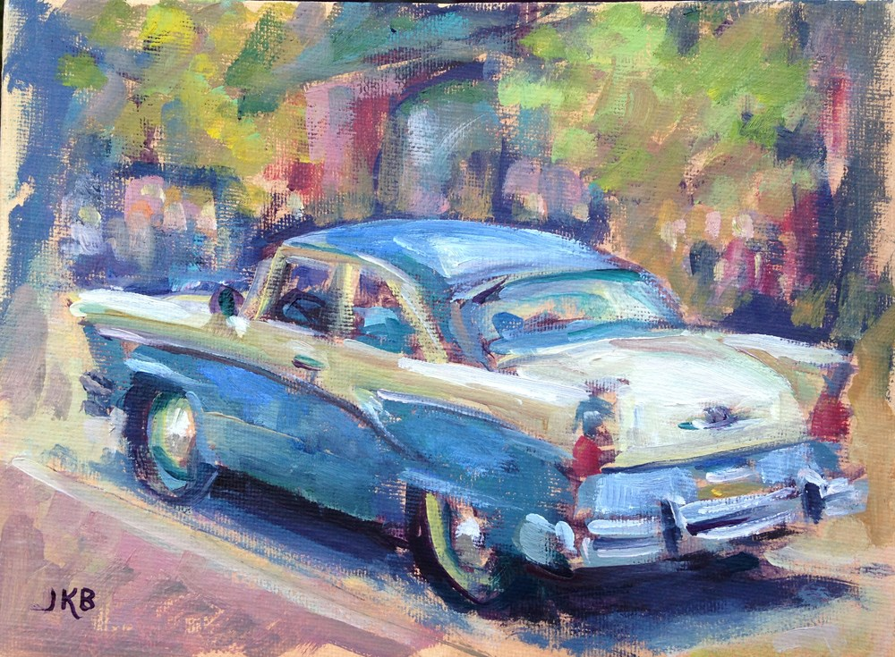 """1956 Ford"" original fine art by Jeanne Bruneau"