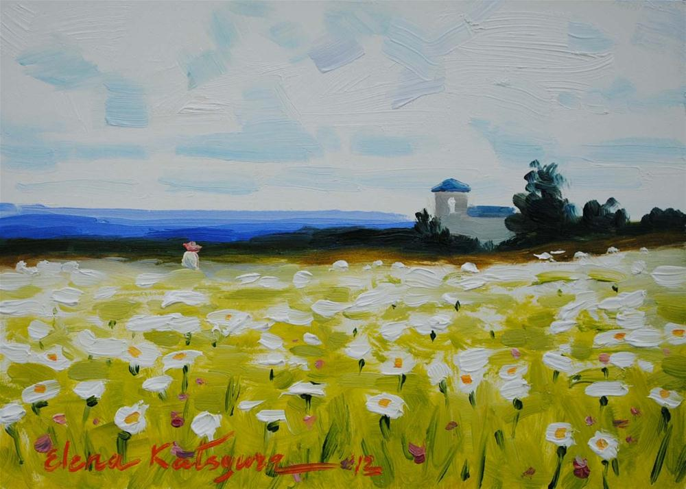 """Daisy Field"" original fine art by Elena Katsyura"