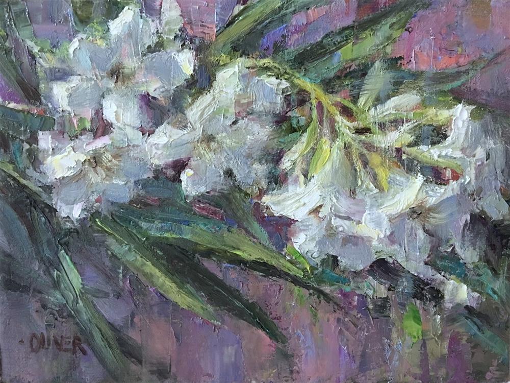 """""""White Oleanders"""" original fine art by Julie Ford Oliver"""