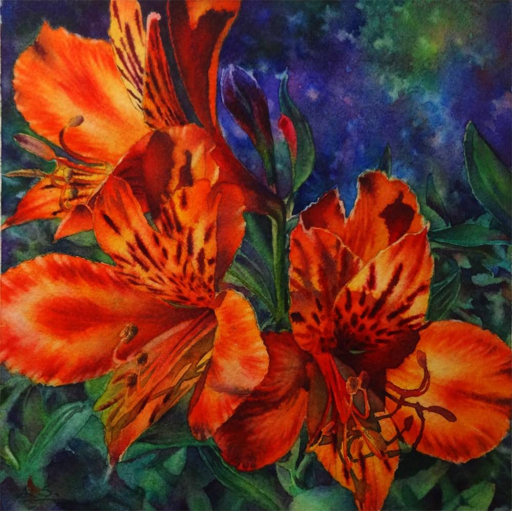 """""""Trio - Orange Freesia"""" original fine art by Arena Shawn"""