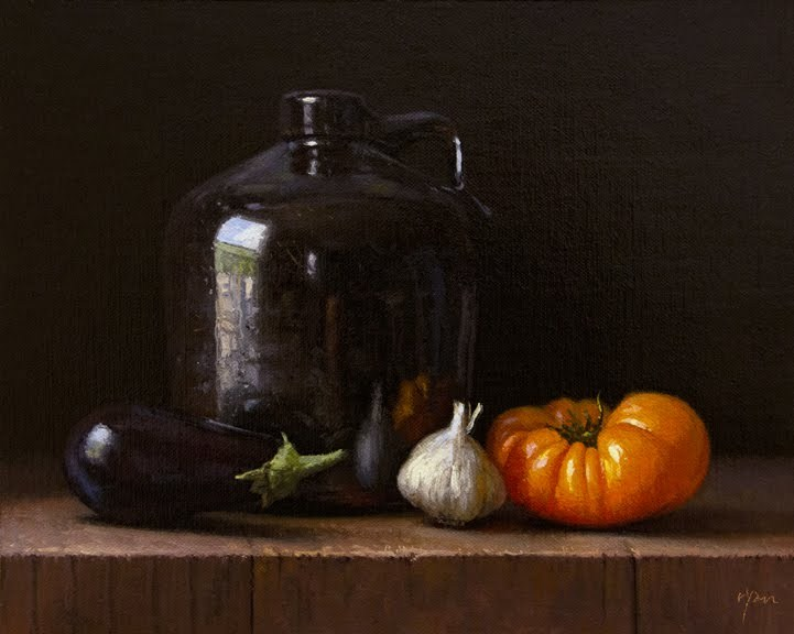 """Still Life with Eggplant, Garlic, Heirloom Tomato, and Ceramic Jug"" original fine art by Abbey Ryan"