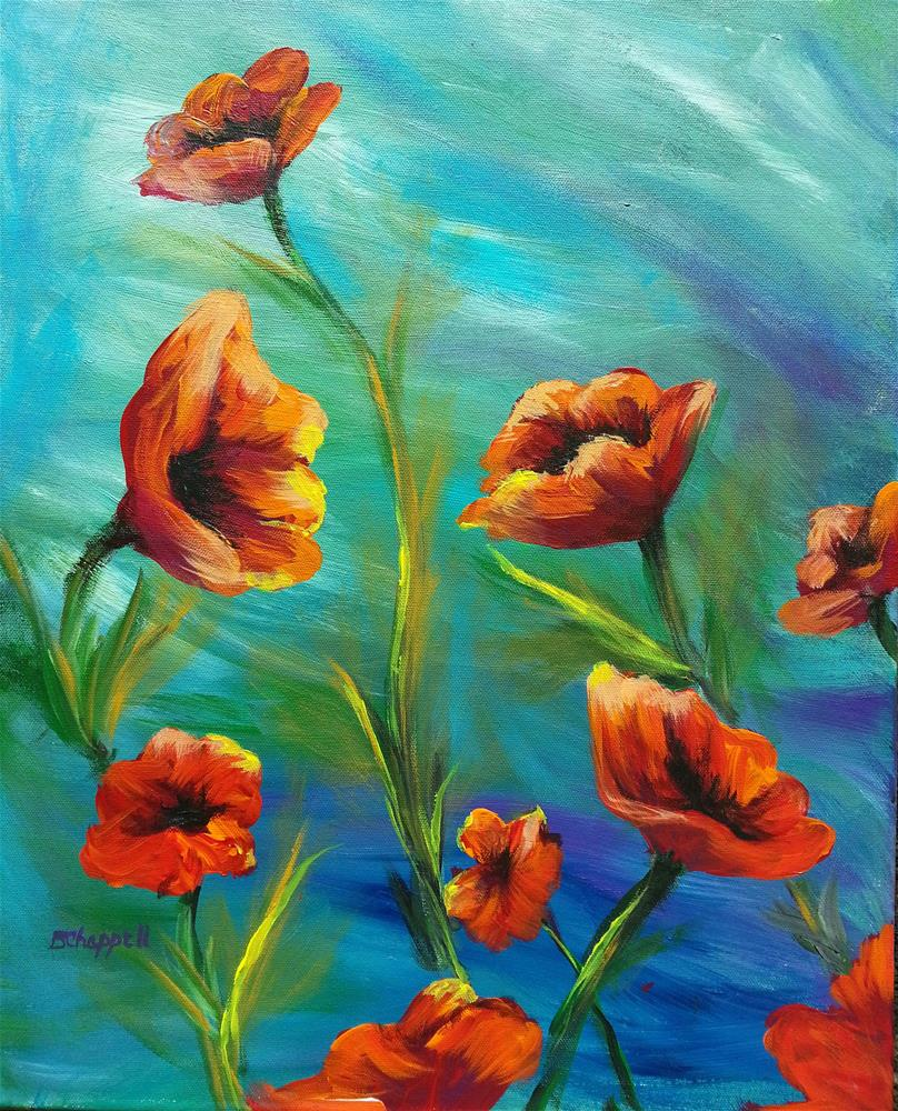 """Dancing Poppies"" original fine art by Becky Chappell"