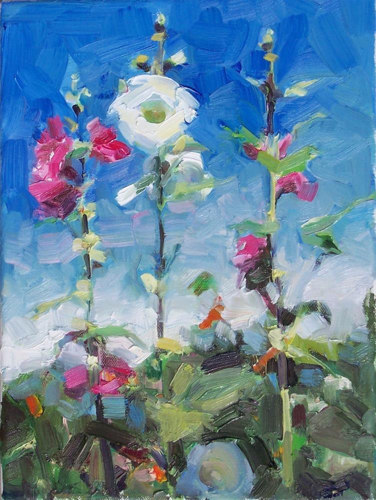 """More Garden Hollyhocks,still life,oil on canvas,12x9,price$400"" original fine art by Joy Olney"