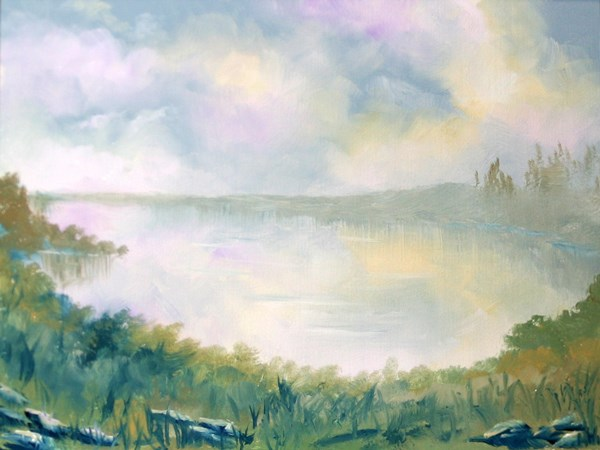 """Mark Adam Webster - Misty Landscape Oil Painting 3-10-11"" original fine art by Mark Webster"