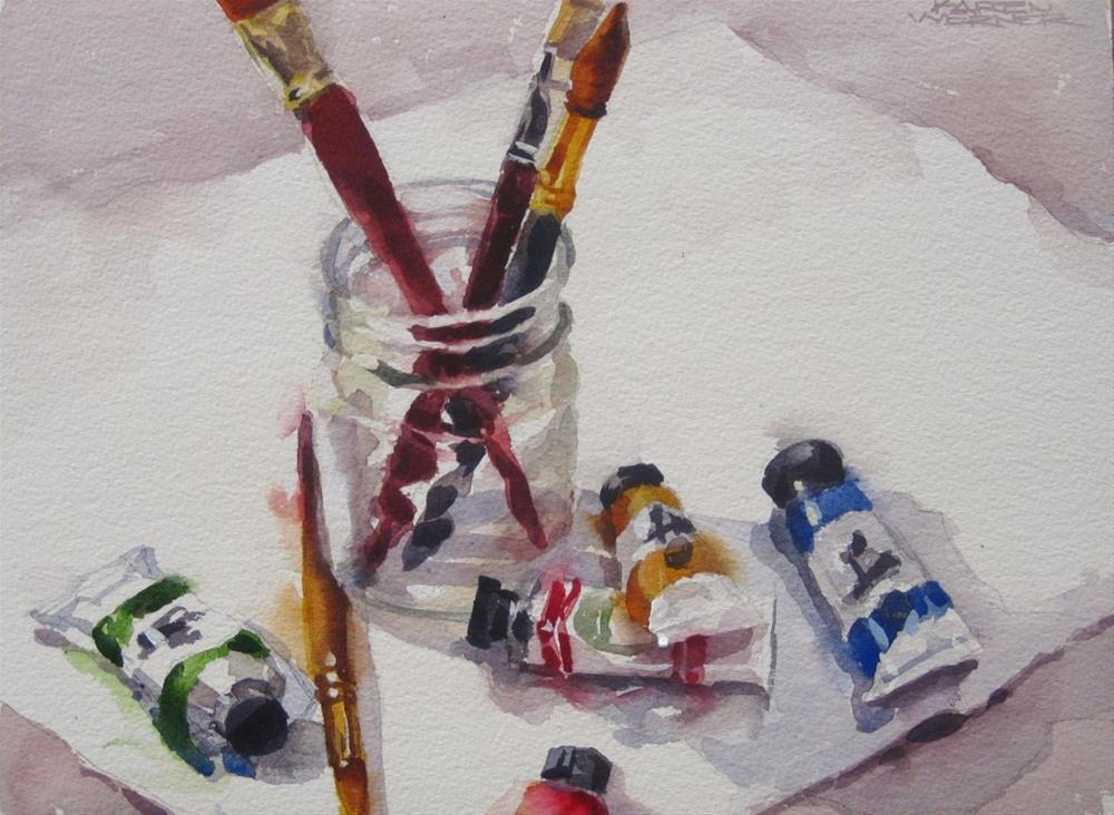 """""""Tubes & Brushes"""" original fine art by Karen Werner"""