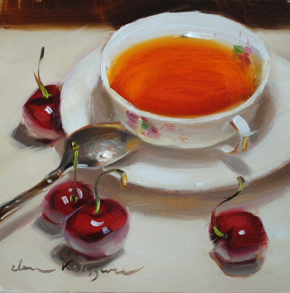 """Sunday Tea"" original fine art by Elena Katsyura"