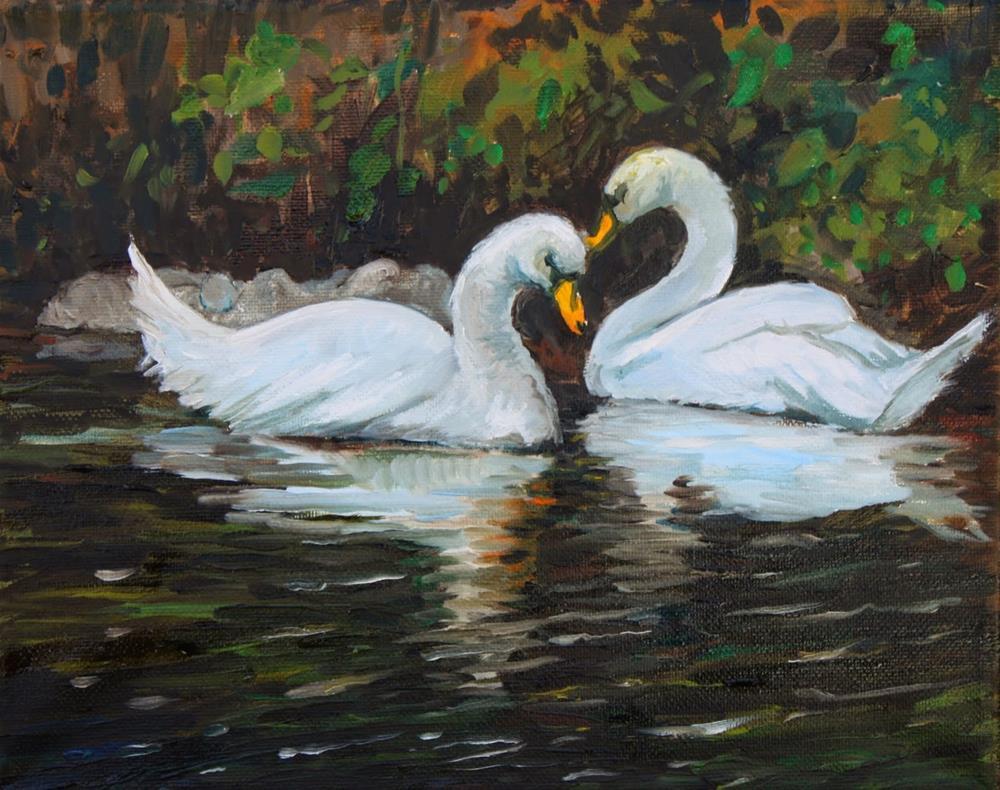 """Winter Swans"" original fine art by Hilary J. England"