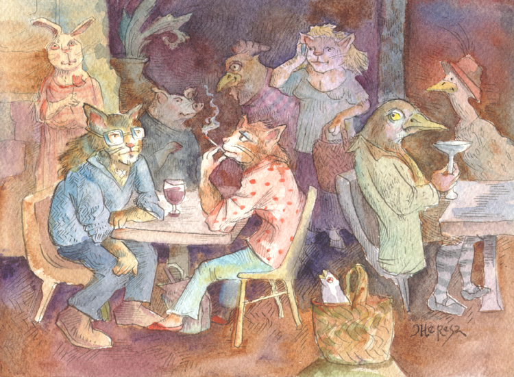 """""""Saturday Cafe"""" original fine art by Theresa Taylor Bayer"""