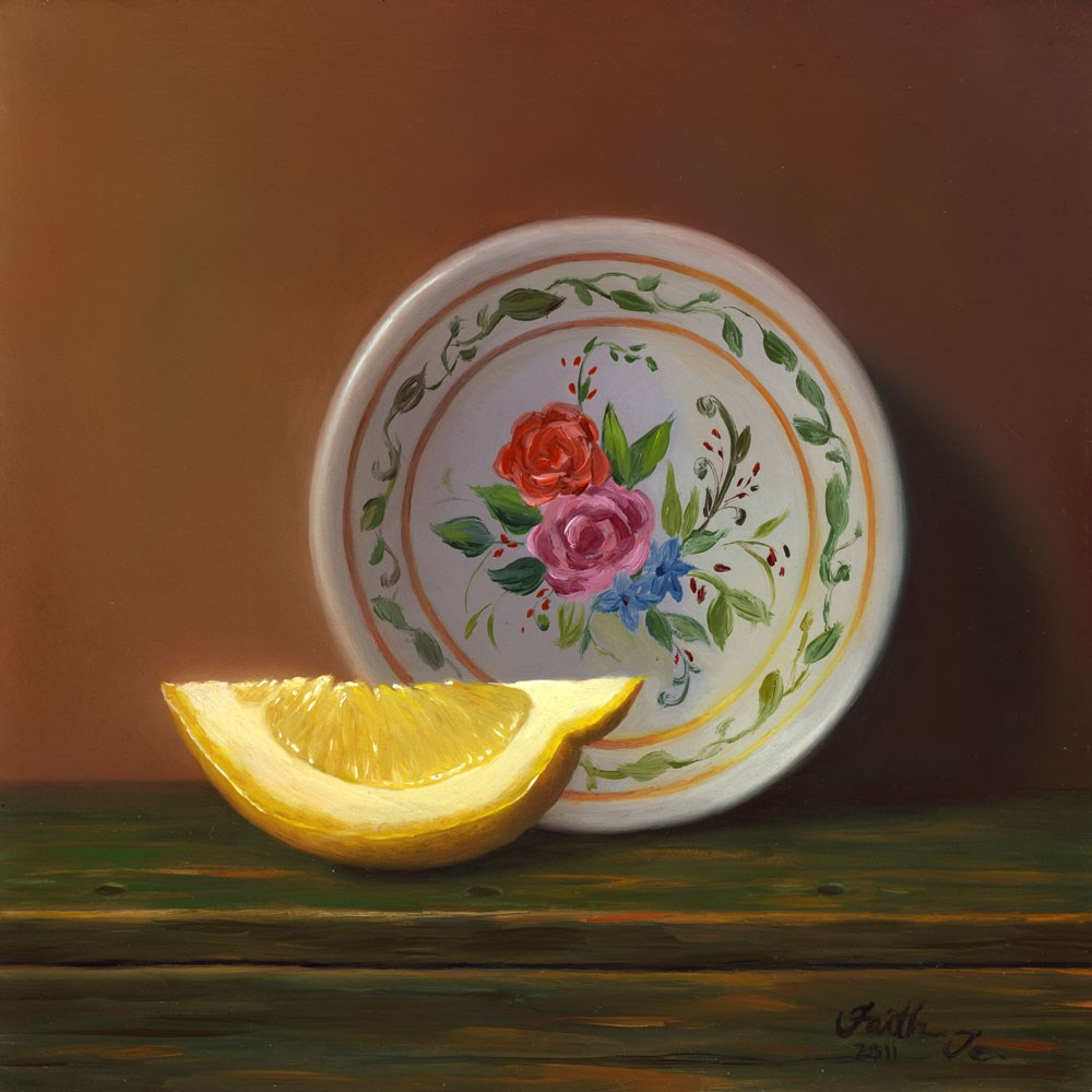"""Lemon Slice with Plate"" original fine art by Faith Te"