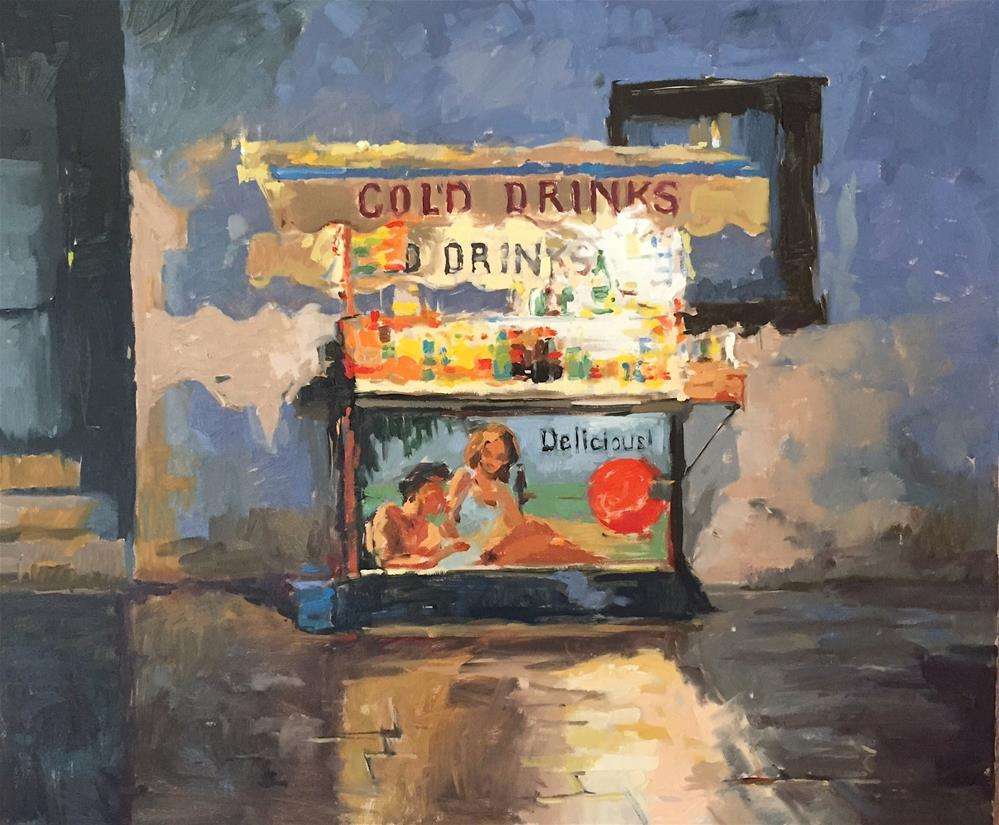 """Cold drinks, Venice"" original fine art by Haidee-Jo Summers ROI"