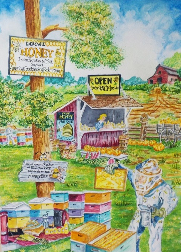 """Honey Bees at Work  #204"" original fine art by Jim Whiteside"