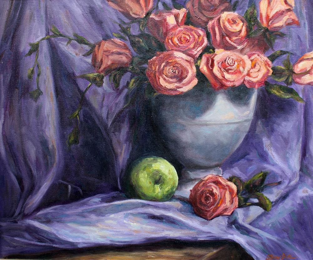 """Orange Roses on Purple Background"" original fine art by Allison Doke"