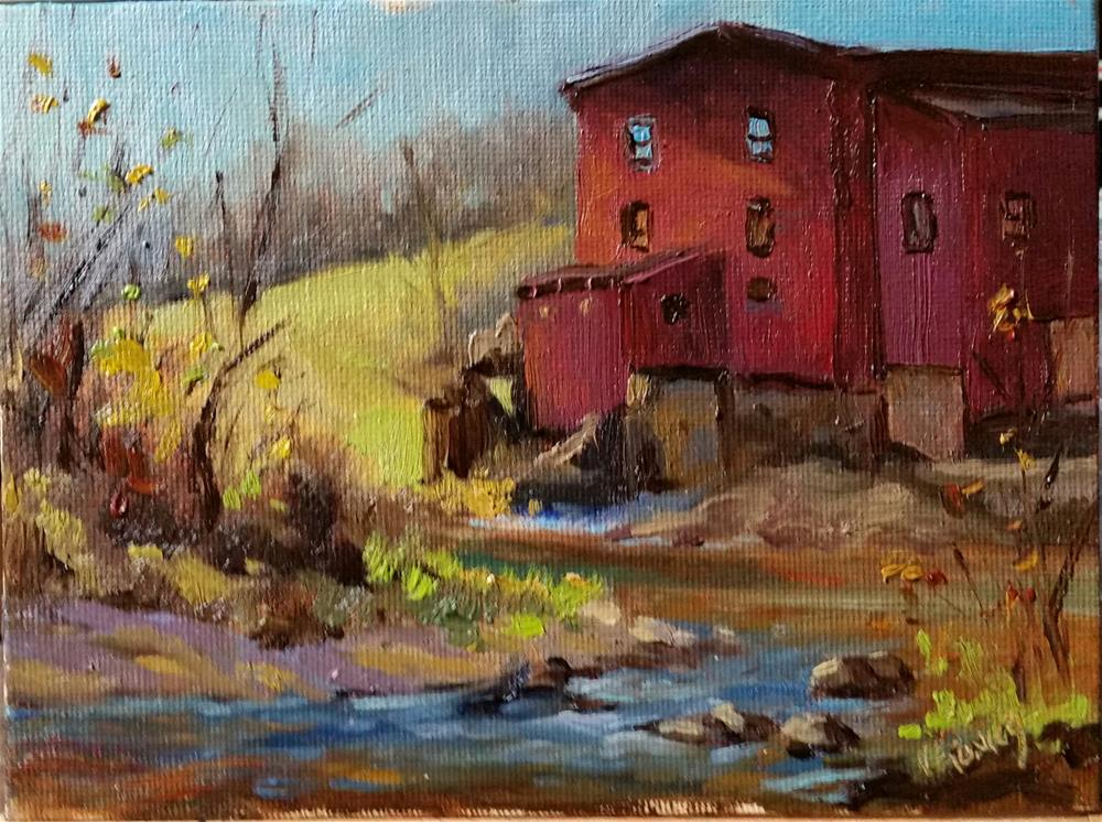 """Dillard Mill-Huzzah Creek en Plein Air"" original fine art by Veronica Brown"