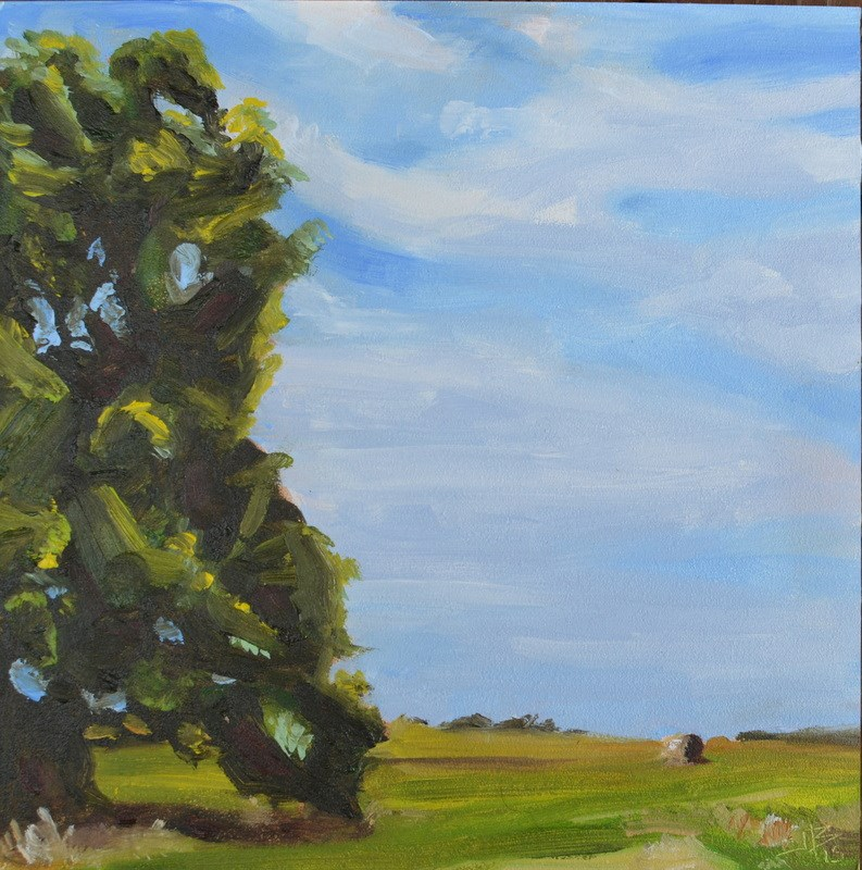 """""""Big Oak, Little Hay"""" original fine art by Jonathan Baker"""