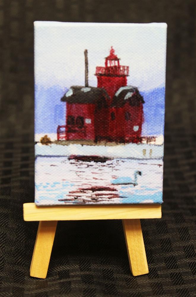 """Big Red, Holland Lighthouse"" original fine art by Angela Z. Hamilton"