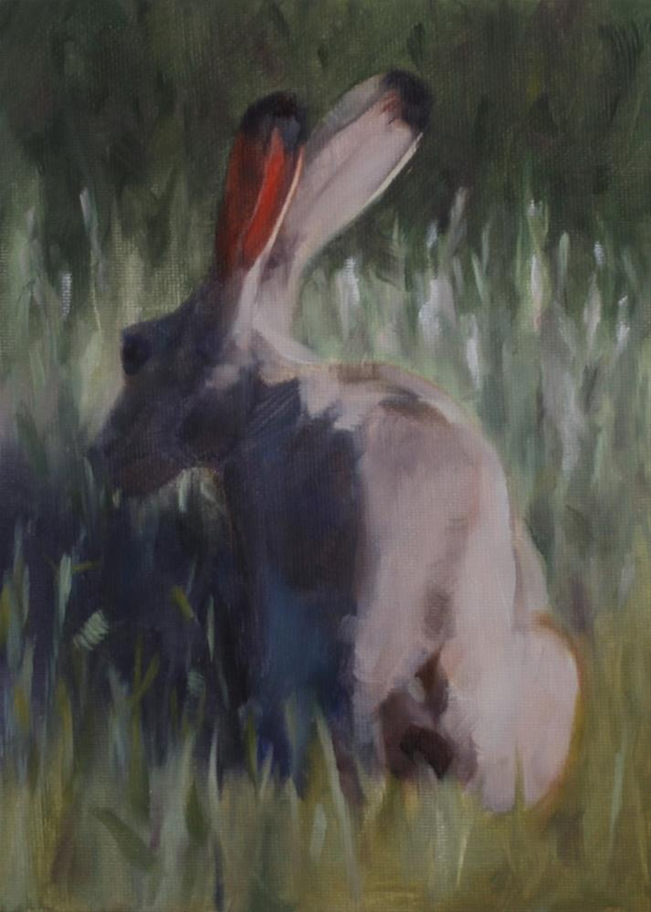 """Jackrabbit Dining Out"" original fine art by Pamela Poll"