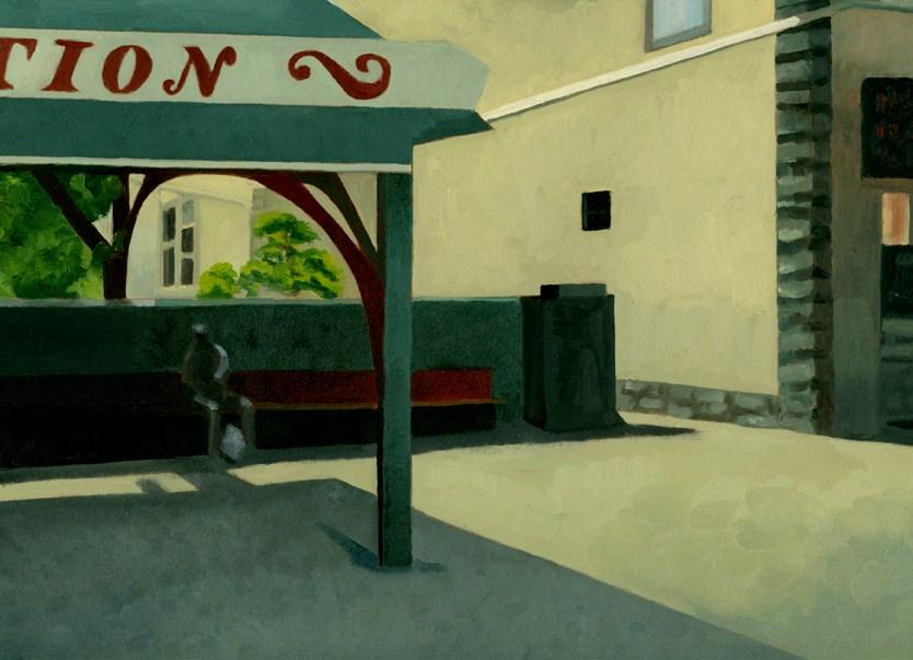 """WAINTINGFOR A TRAIN"" original fine art by Nancy Herman"