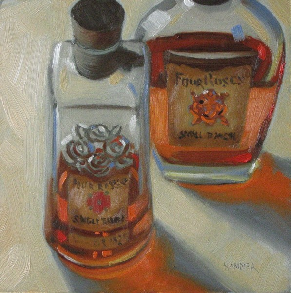 """Four Roses in tandem 6x6 oil"" original fine art by Claudia Hammer"