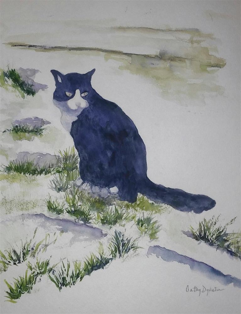 """Neighbor's Cat"" original fine art by Cathy Dykstra"