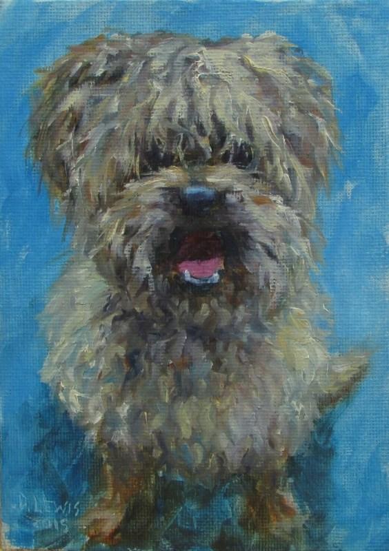 """Scruffy"" original fine art by Christine Lewis"