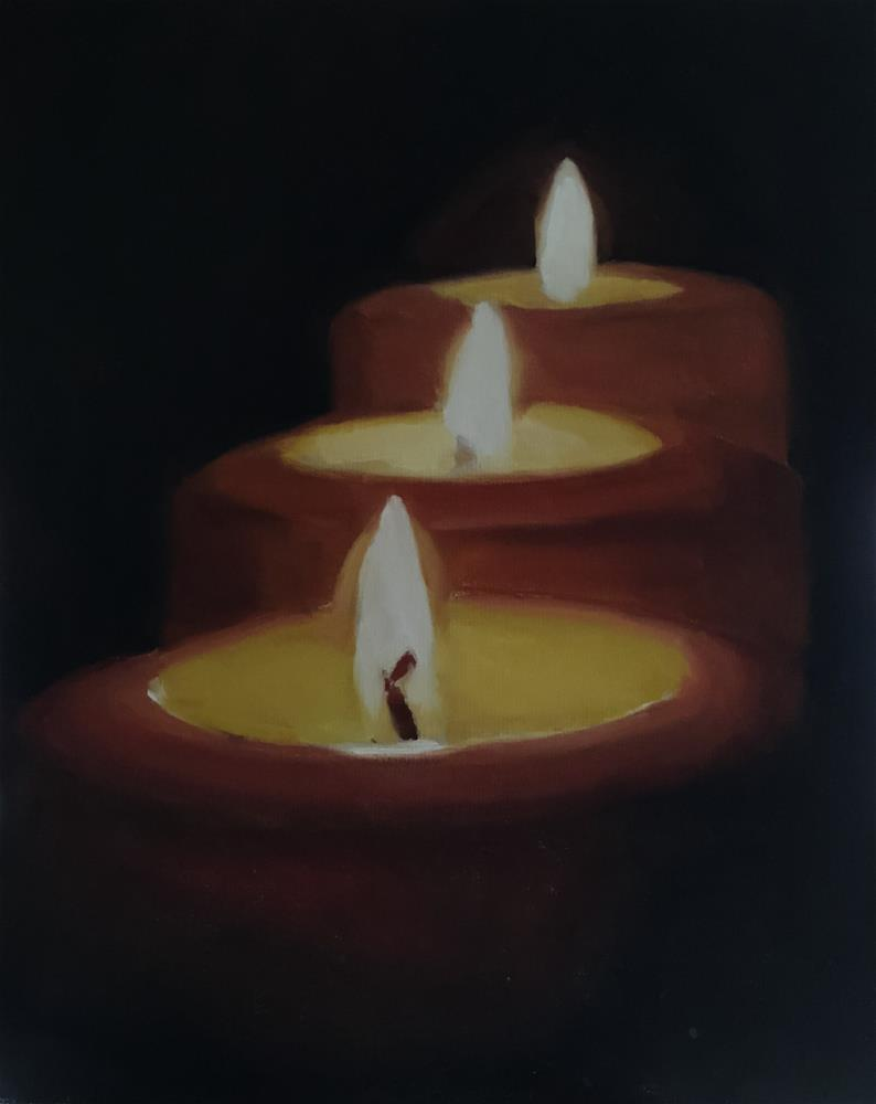 """Three Candles"" original fine art by James Coates"