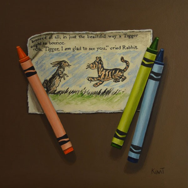 """Tigger and Rabbit with Crayons"" original fine art by Kim Testone"