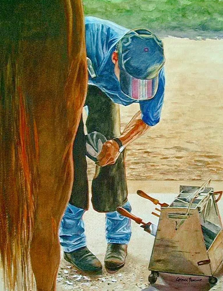 """The Farrier, Watercolor, 20x28"" original fine art by Carmen Beecher"
