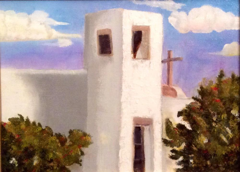 """Little White Church in Northern New Mexico"" original fine art by Charlotte Lough"