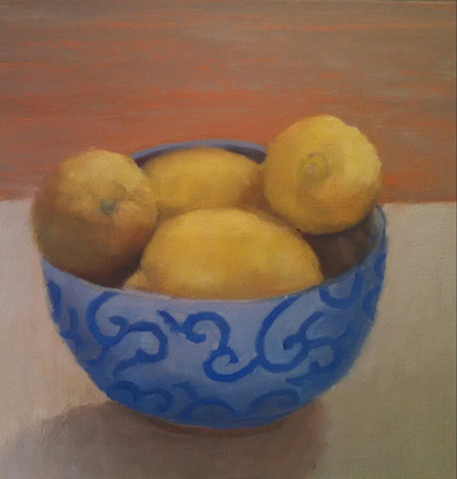 """Lemons in Blue Bowl"" original fine art by Cheri Sperl"