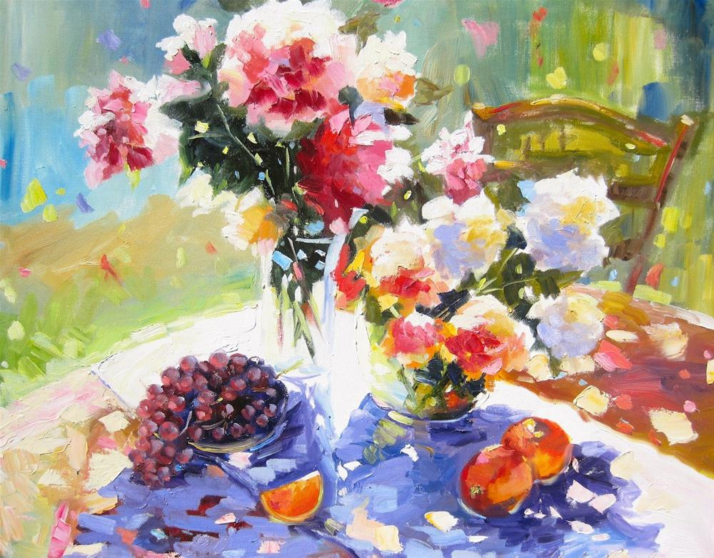 """SUMMER TABLE"" original fine art by Cecilia Rosslee"